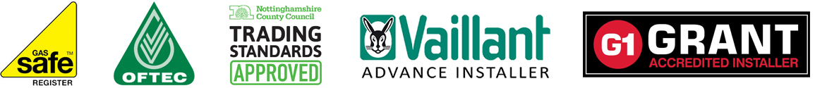 Gas Safe Register, OFTEC Registered, Trading Standards Approved, Vaillant Advance Installer, Grant Accredited Installer