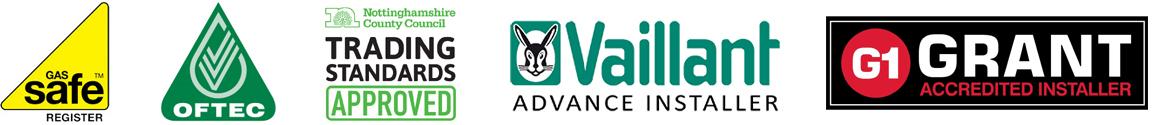 Gas Safe Register, OFTEC Registered, Trading Standards Approved, Vaillant Advance Installer, Grant Accredited Installer